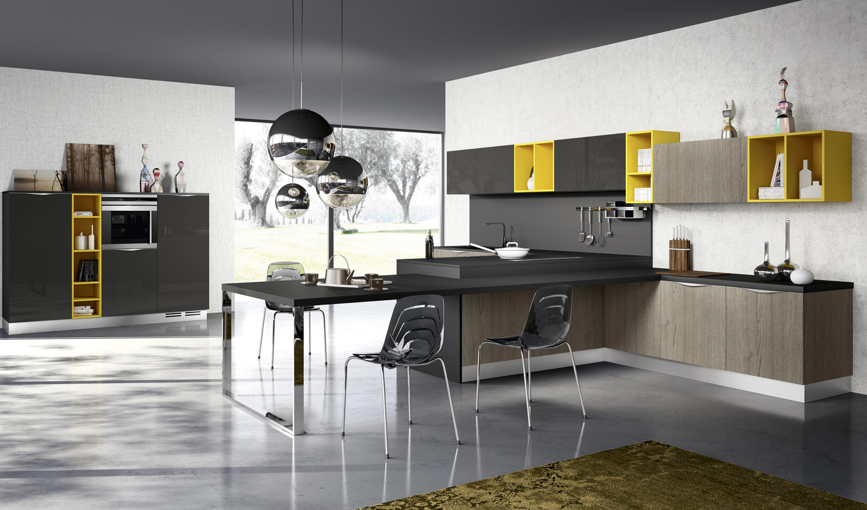yellow color accent for kitchen