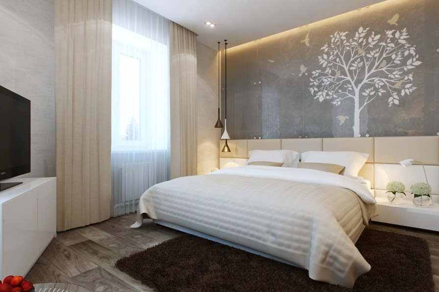 simple bedroom with artwork decor