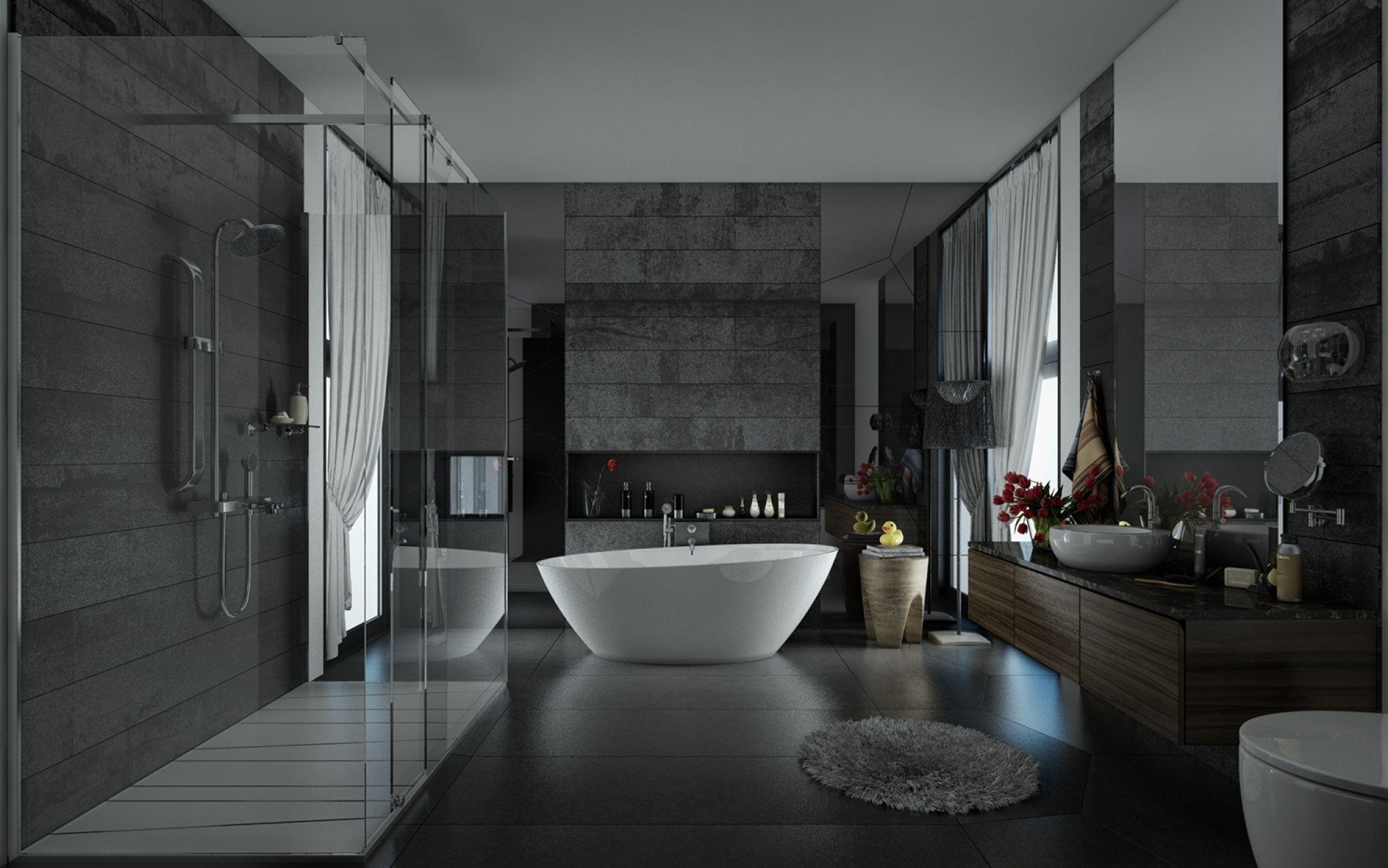 gray contemporary bathroom
