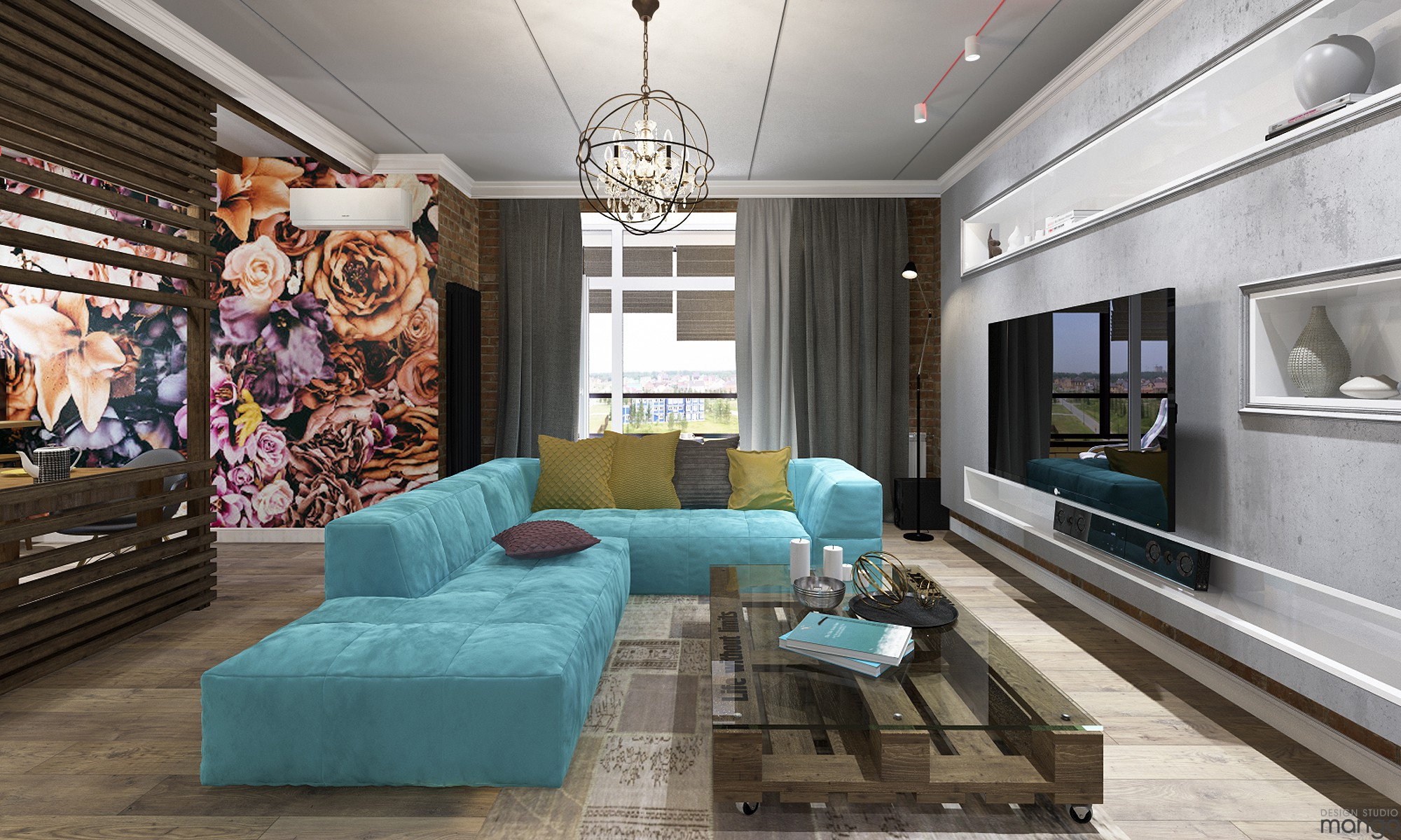 modern living room with floral wall