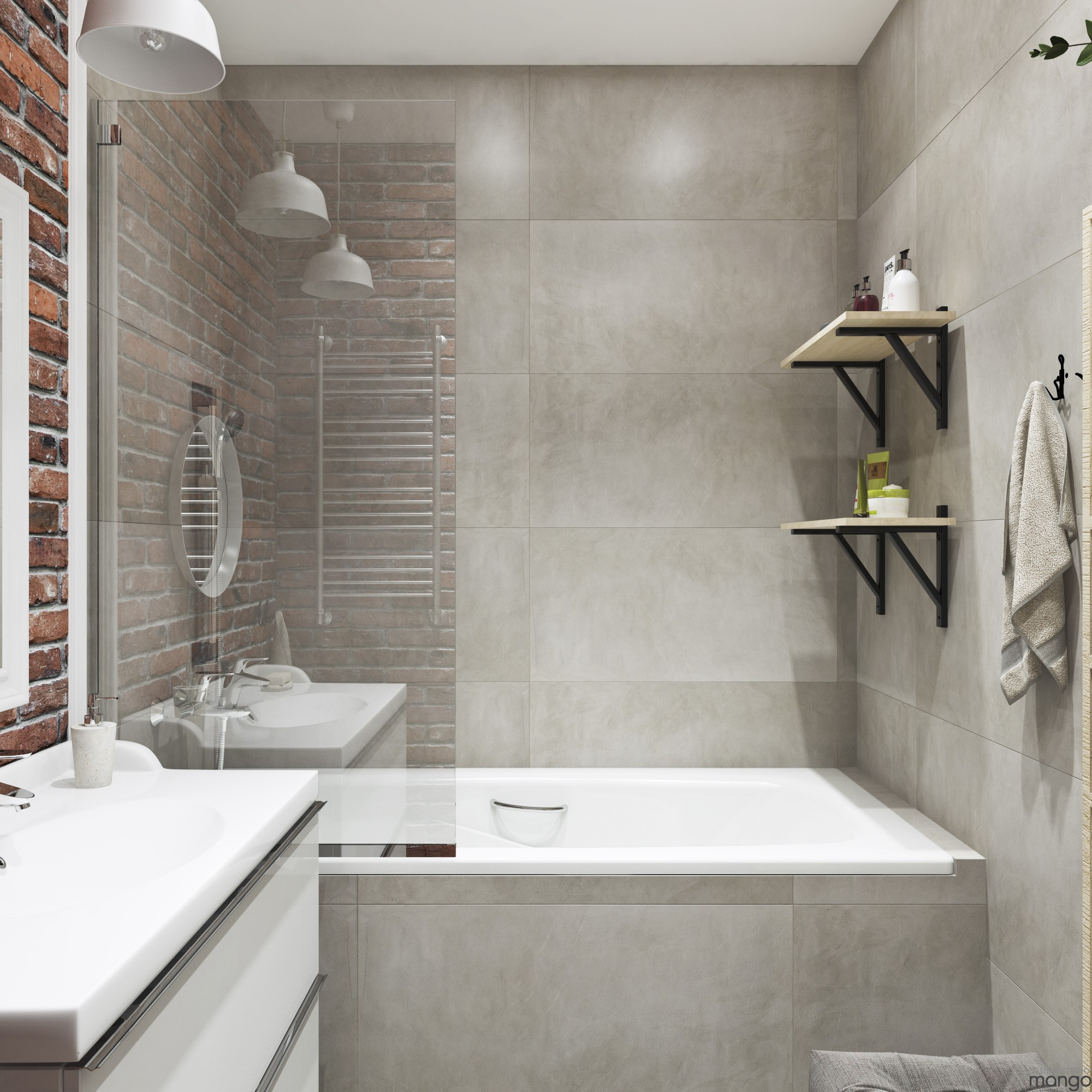 white gray bathroom design