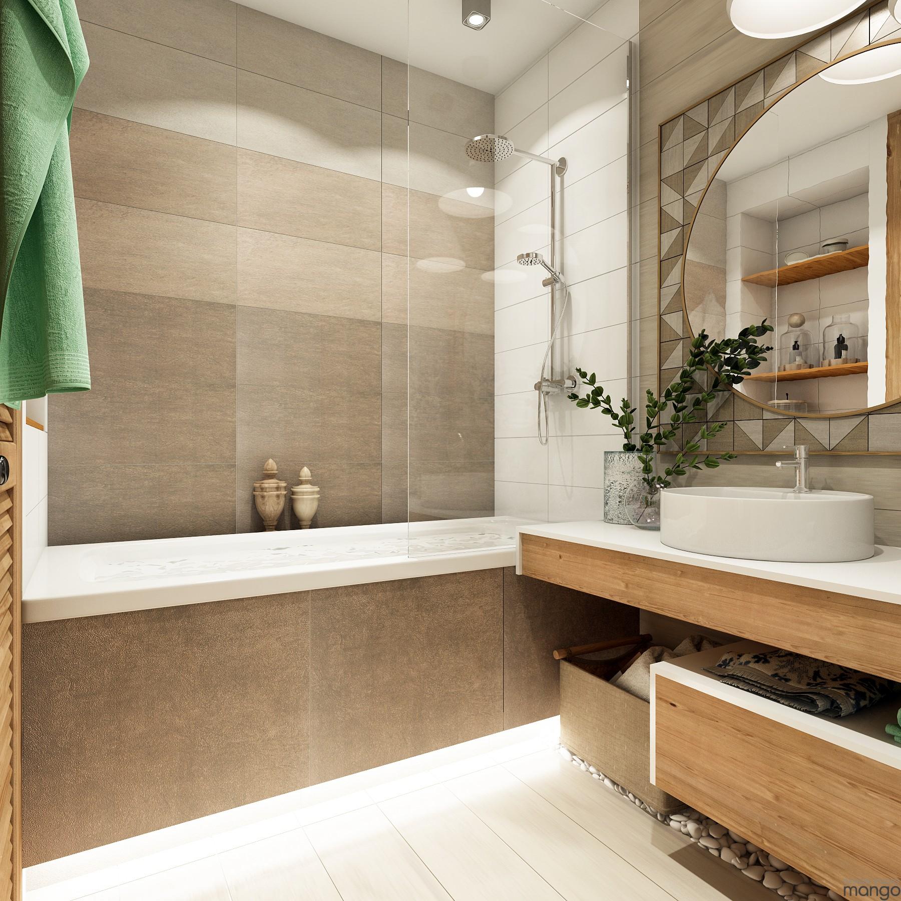 beige tile bathroom design