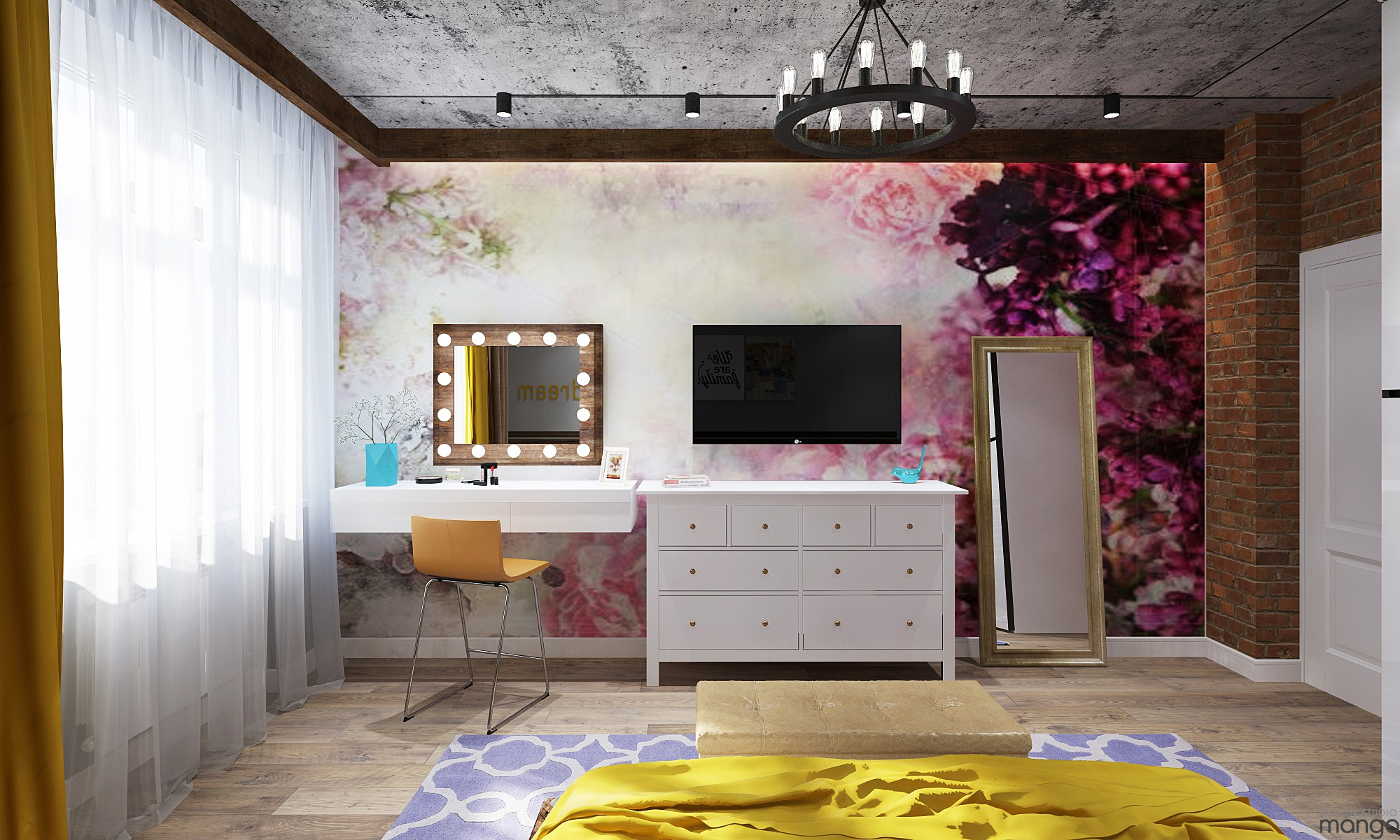floral wall bedroom design