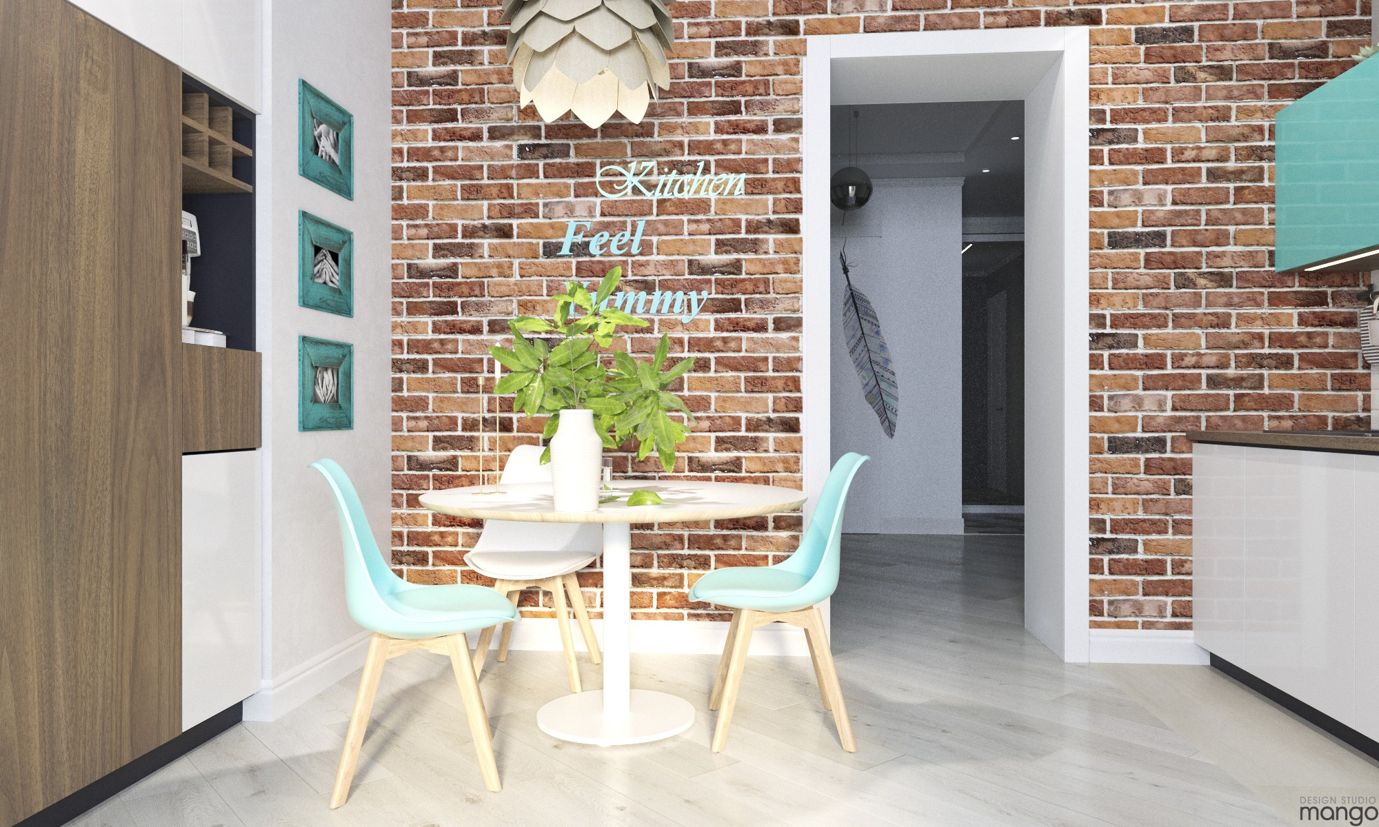 modern brick wall dining room