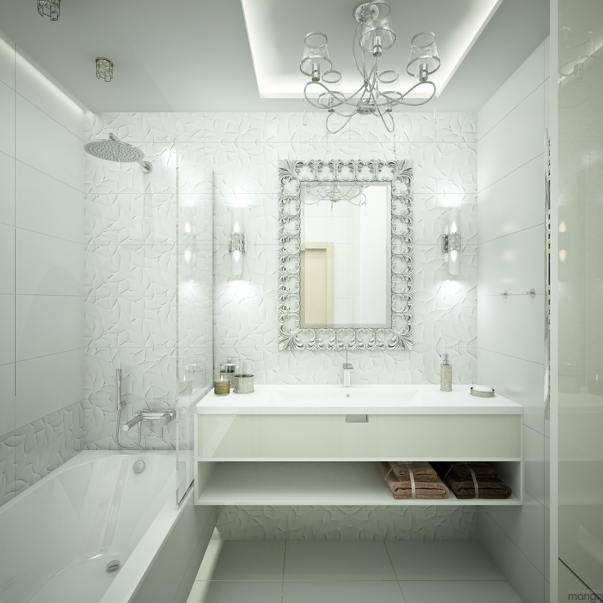 white contemporary bathroom decor