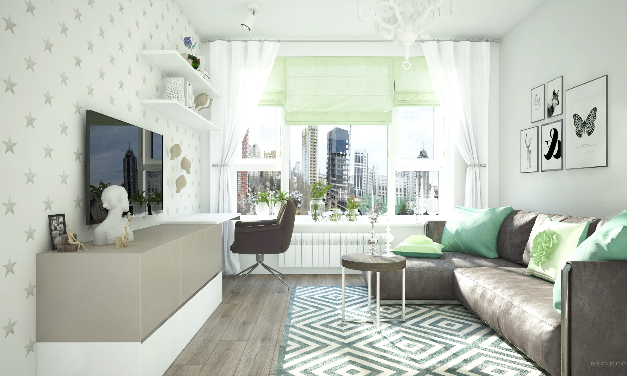 green shade for living room design