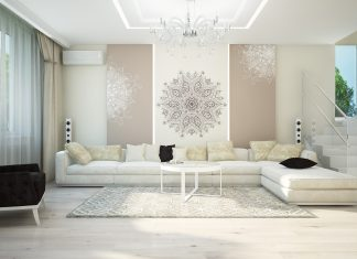 white luxury small living room