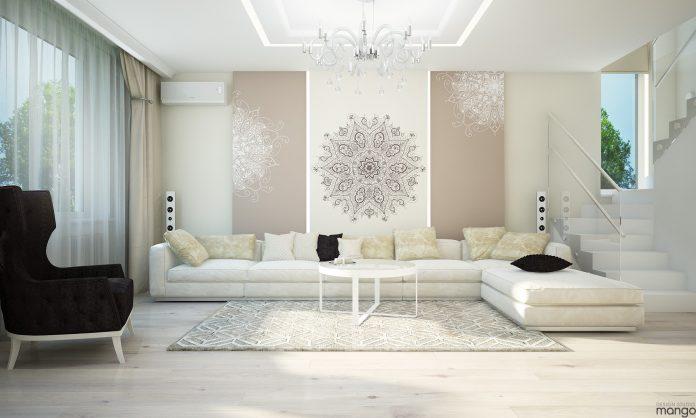 white luxury small living room