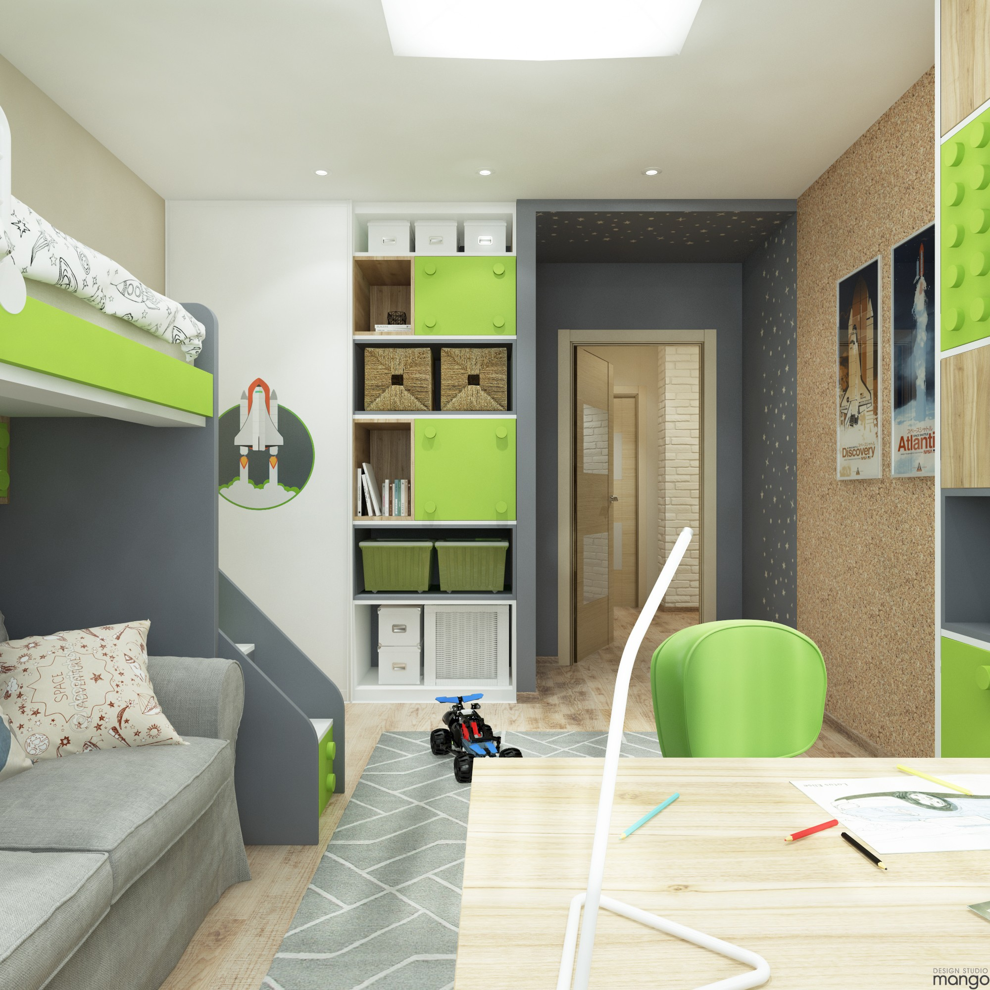 green and gray kids bedroom decor