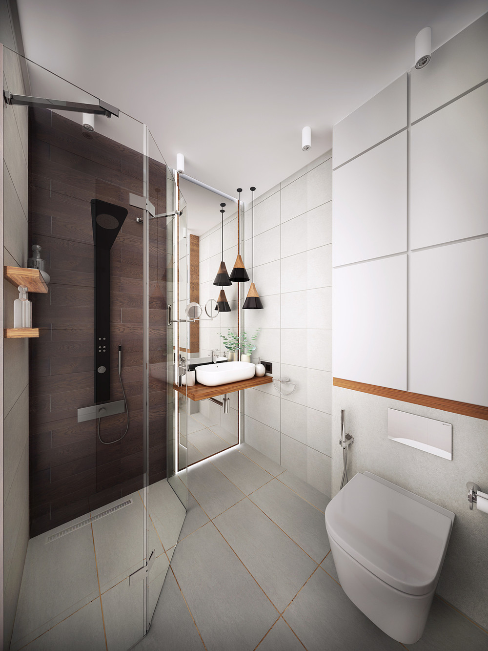 white bathroom with glass shower
