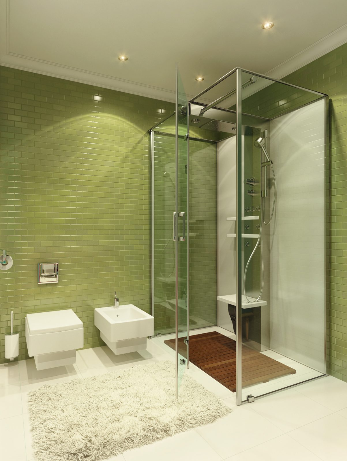 green bathroom backsplash decor
