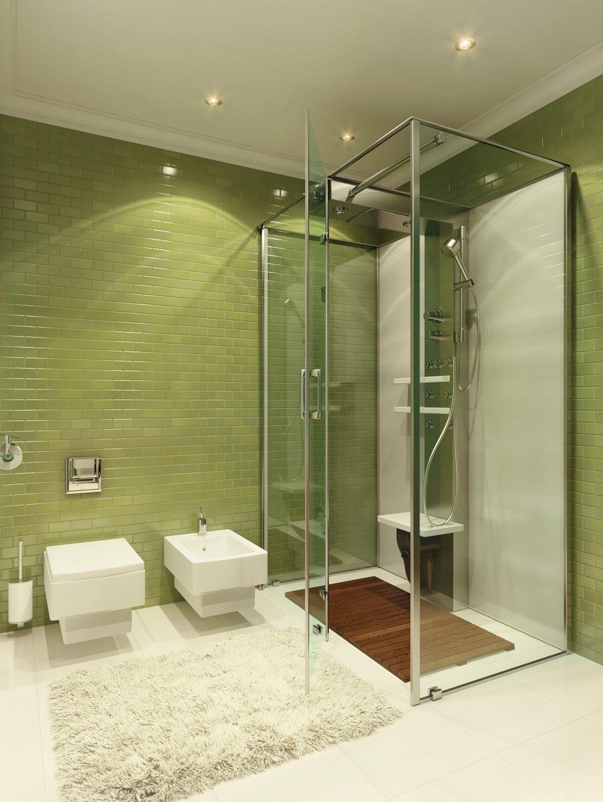 green bathroom backsplash decor