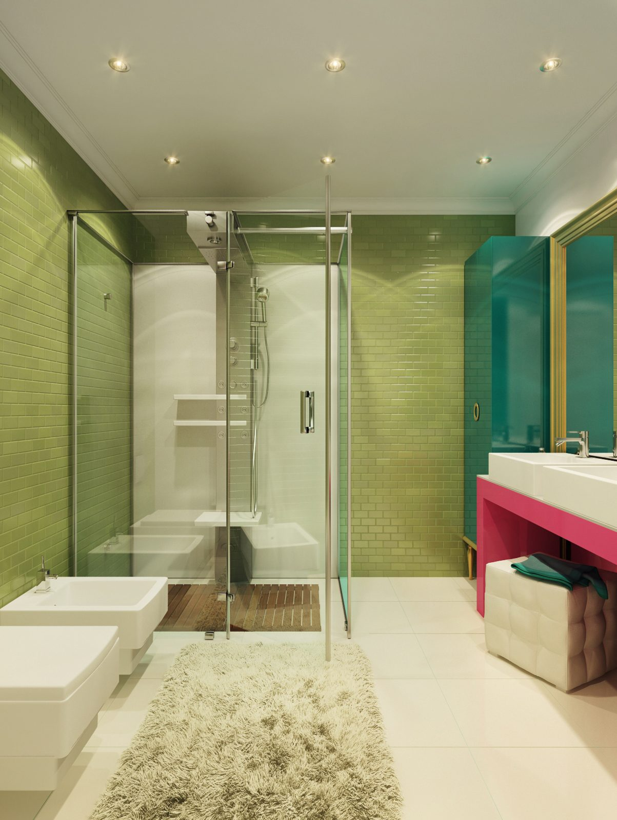 simple bathroom green tile design