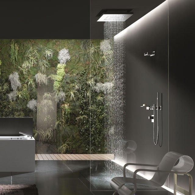 bathroom design with decorative plants