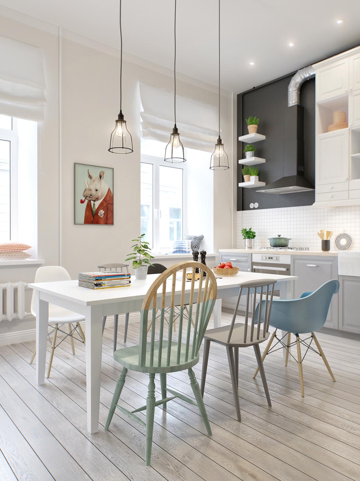 white modern dining room design