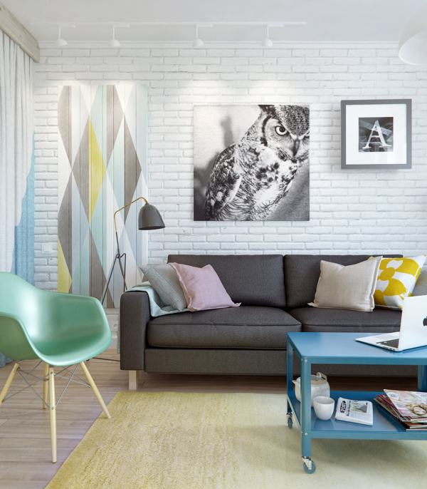 small living room with pastel color