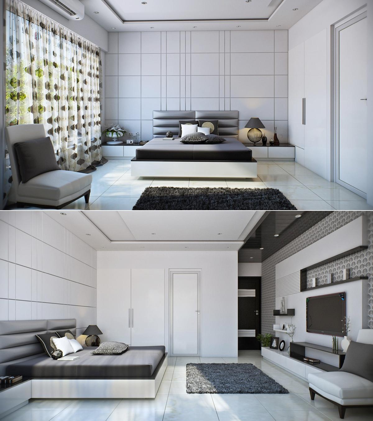white modern bedroom design