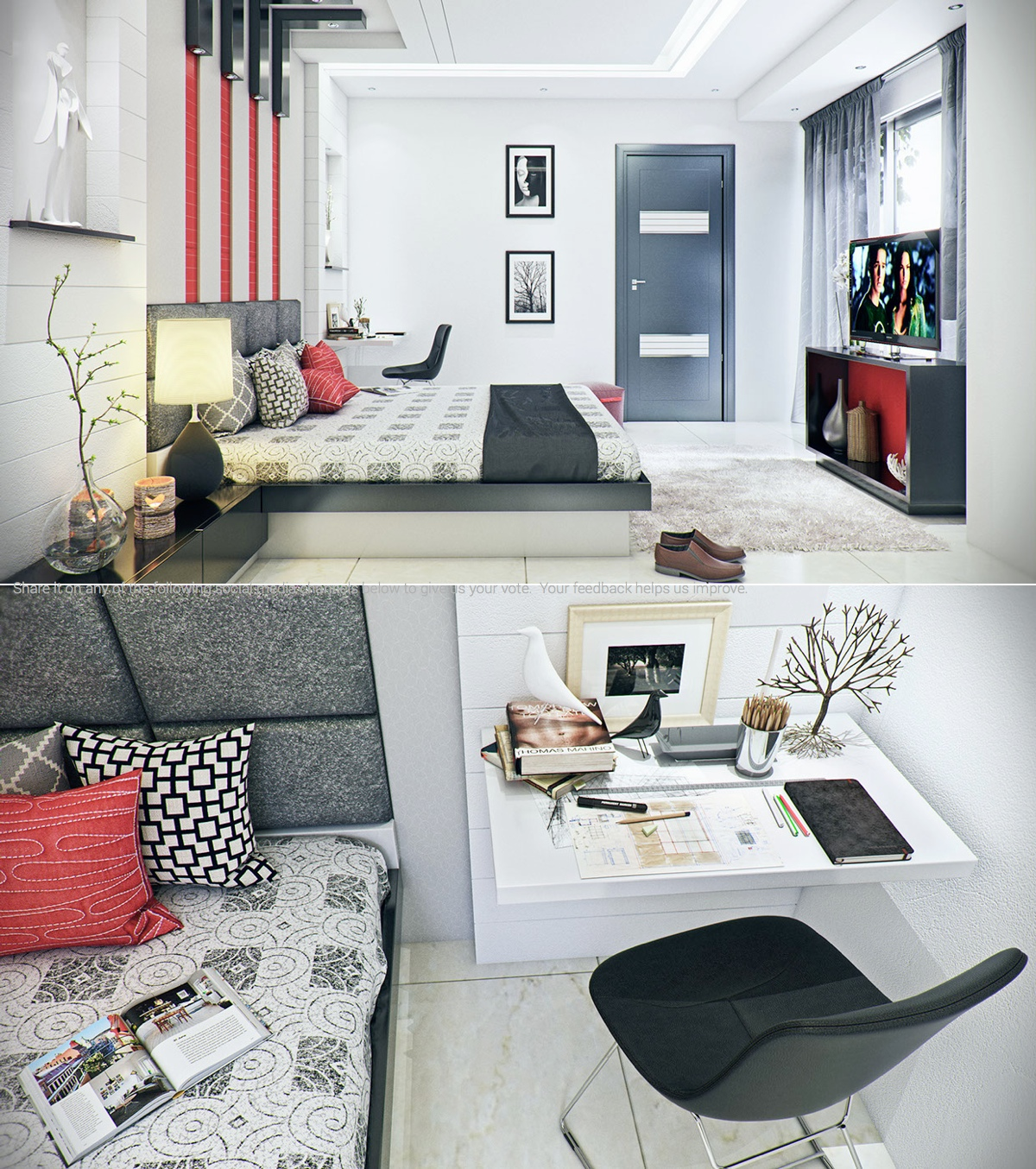 white modern bedroom decorating ideas
