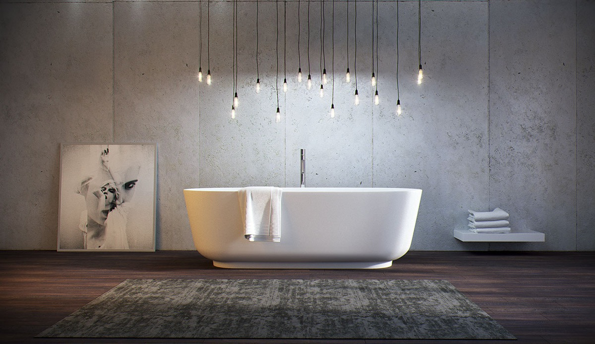 modern bathroom with perfect bathtub