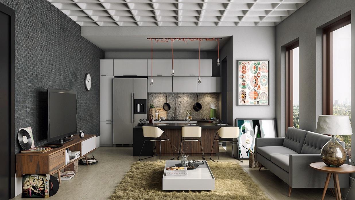 gray modern open plan design