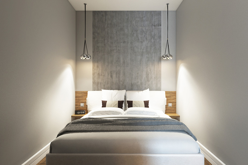 gray backsplash bedroom