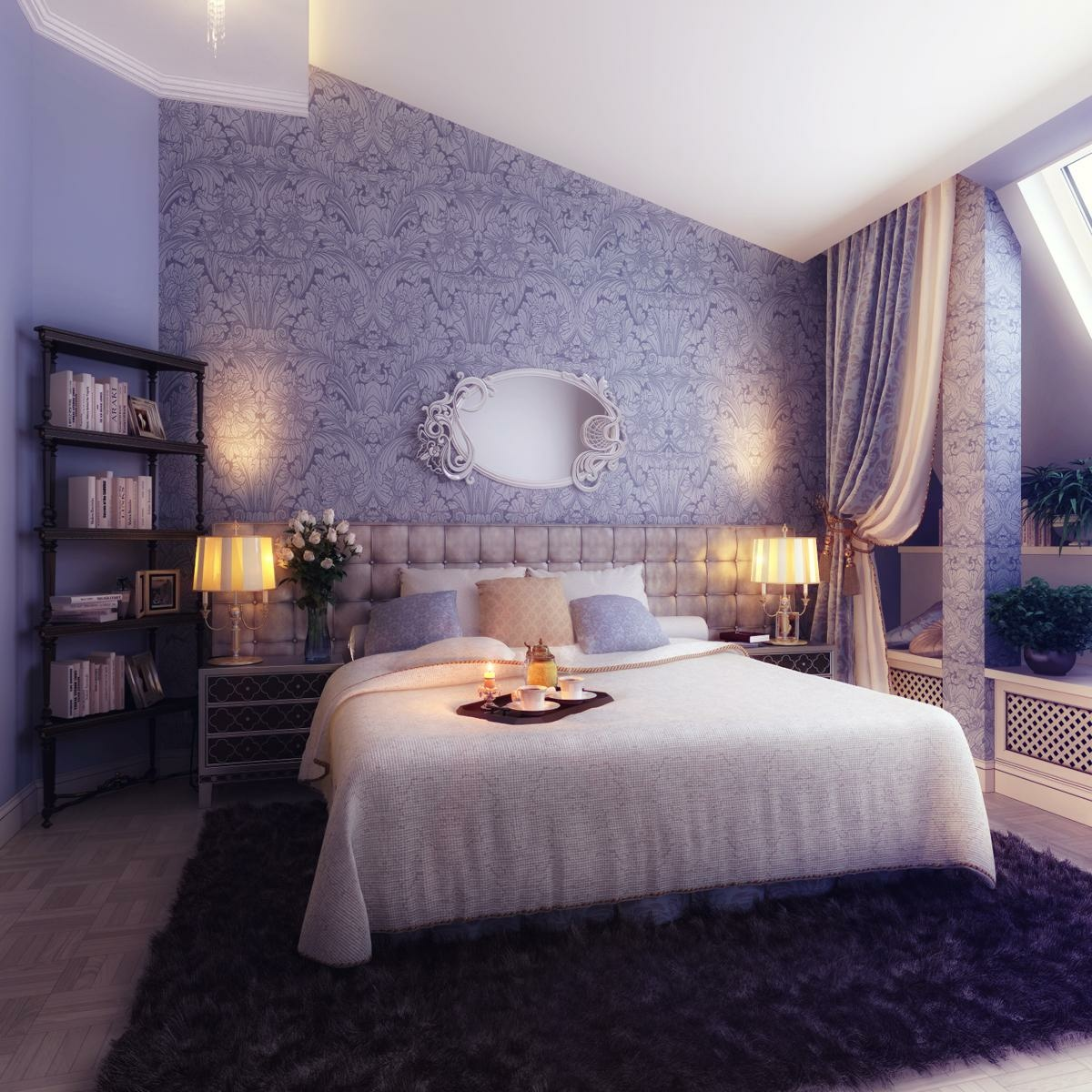 purple classic elegant bedroom