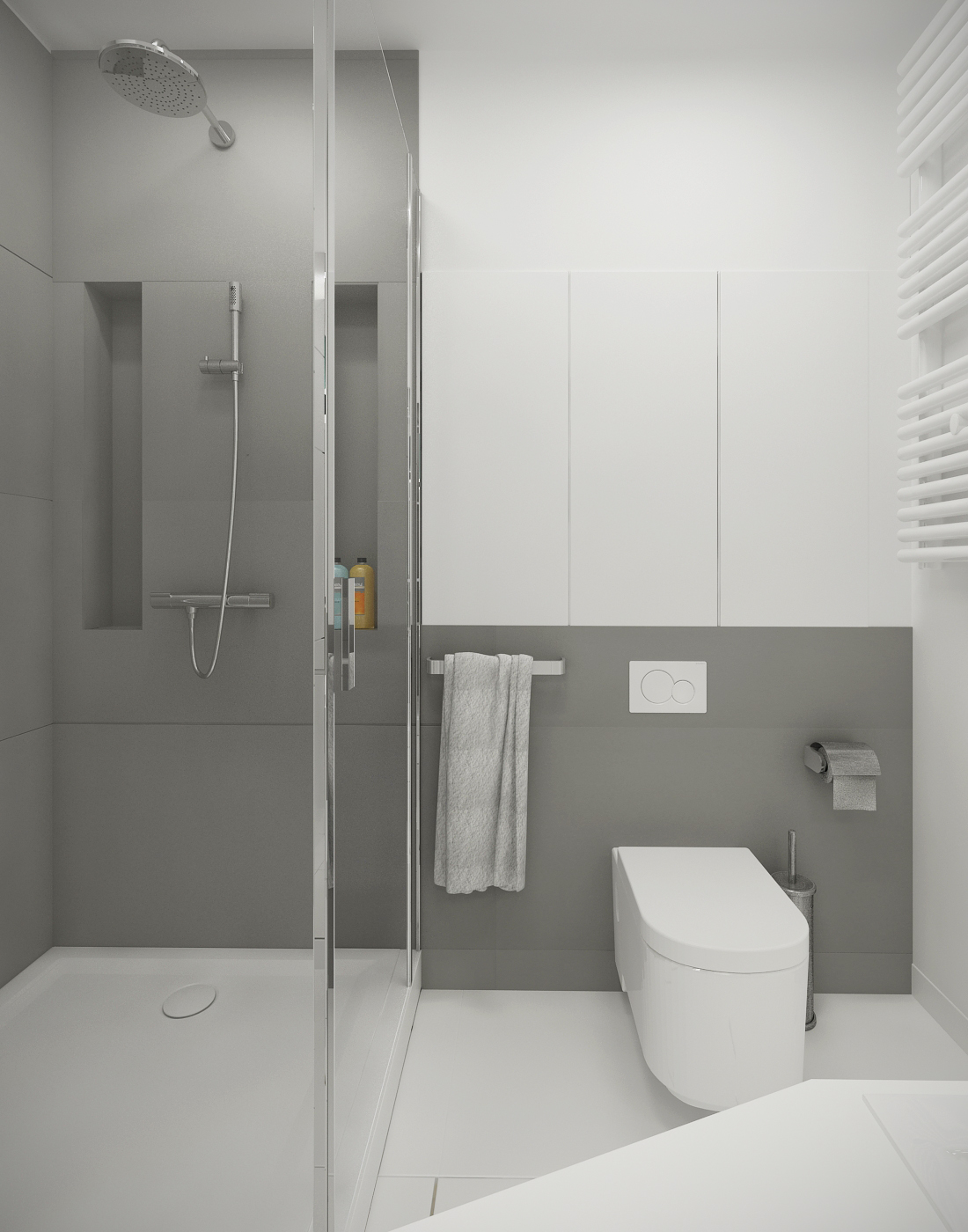 A suitable simple small bathroom designs looks so perfect for Grey white bathroom ideas