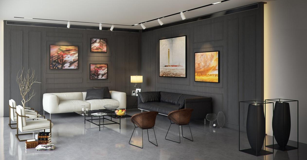 dark spacious living room