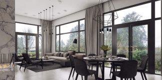 black and white trendy apartment