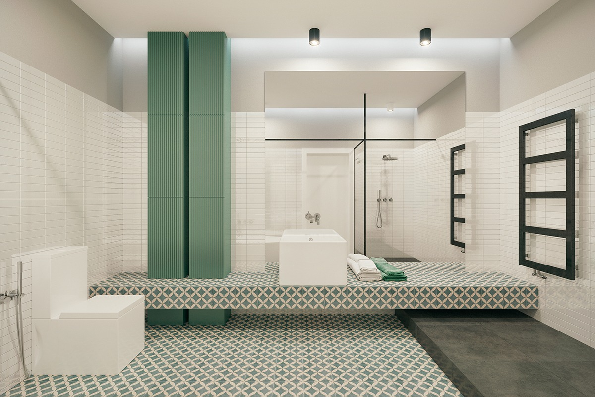 Trendy bathroom design ideas combined with white color for Trendy bathroom decor