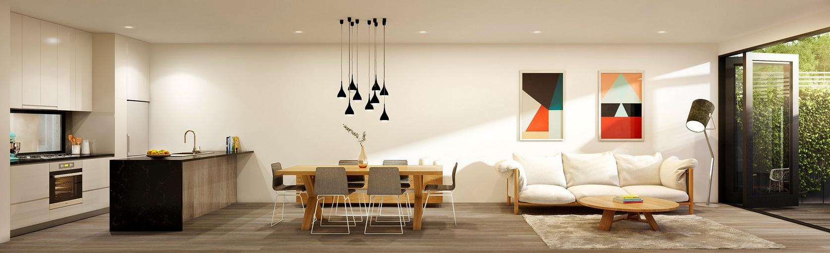 white minimalist open plan design