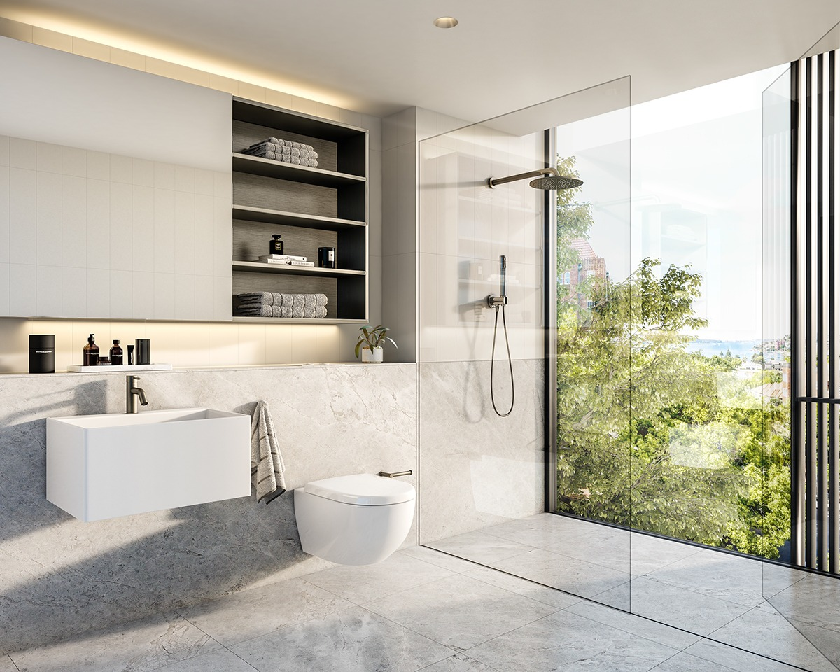 scandinavian modern white bathroom