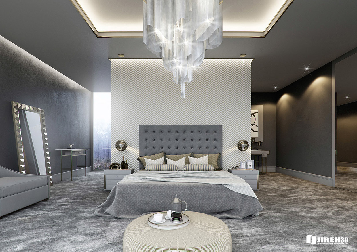 gray luxury bedroom design idea