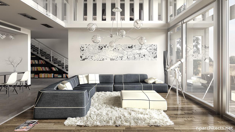 white luxury living room design