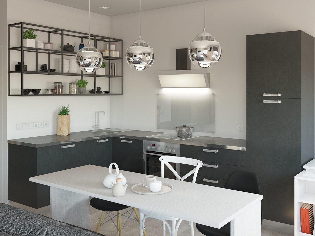 gray and white simple small kitchen