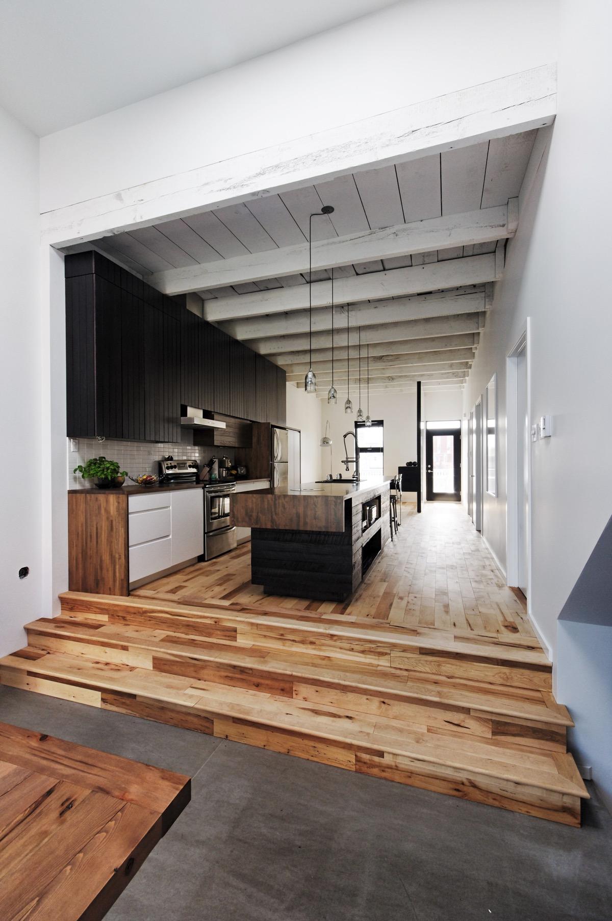 wooden floor kitchen design