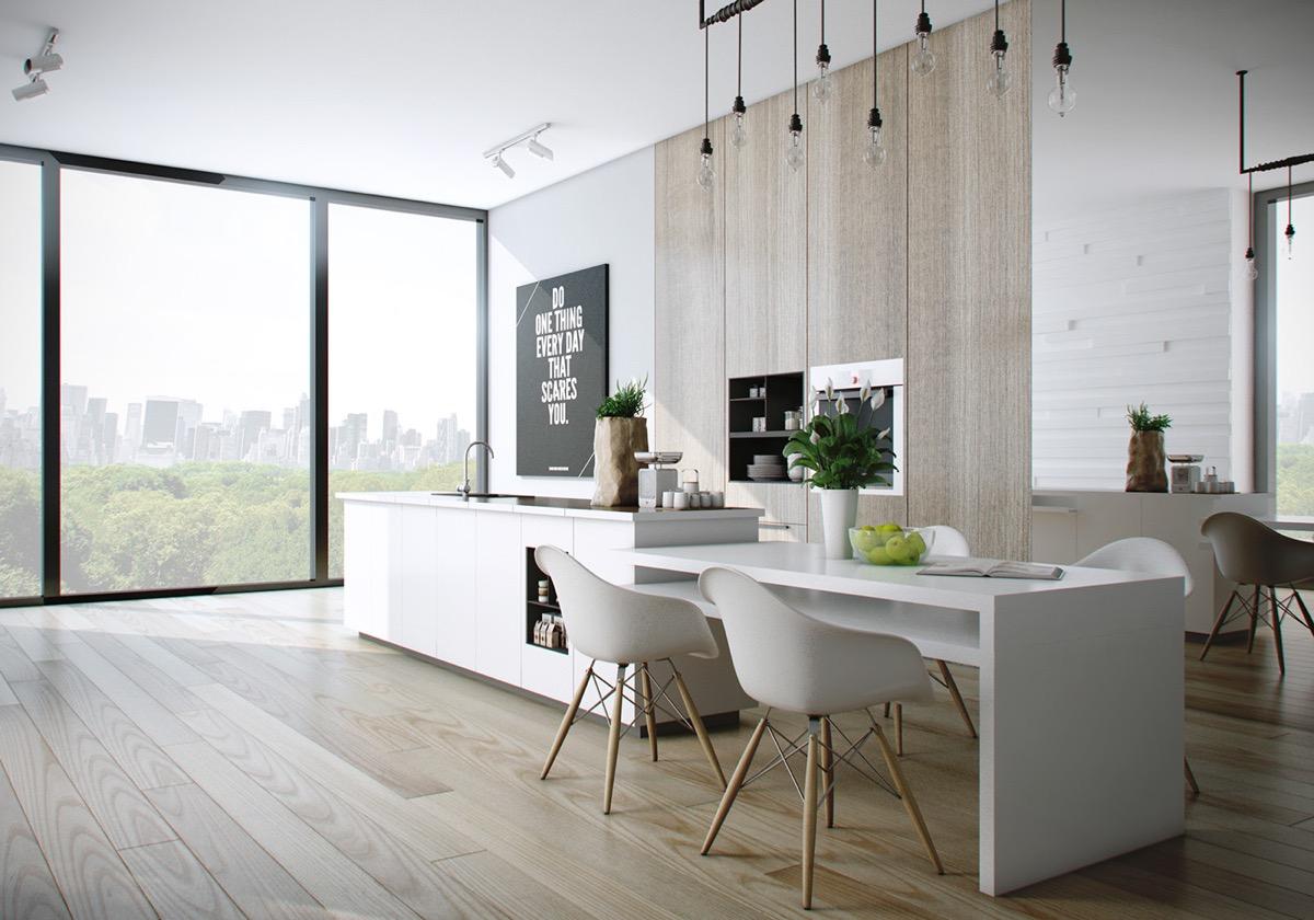 modern kitchen with wooden accent
