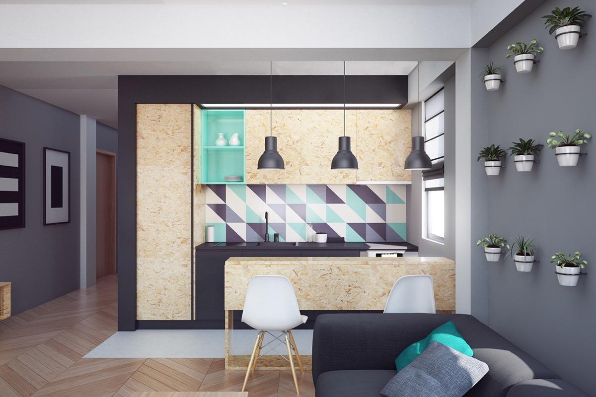 geometric backsplash kitchen design