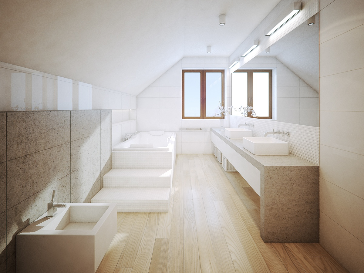 white minimalist bathroom design