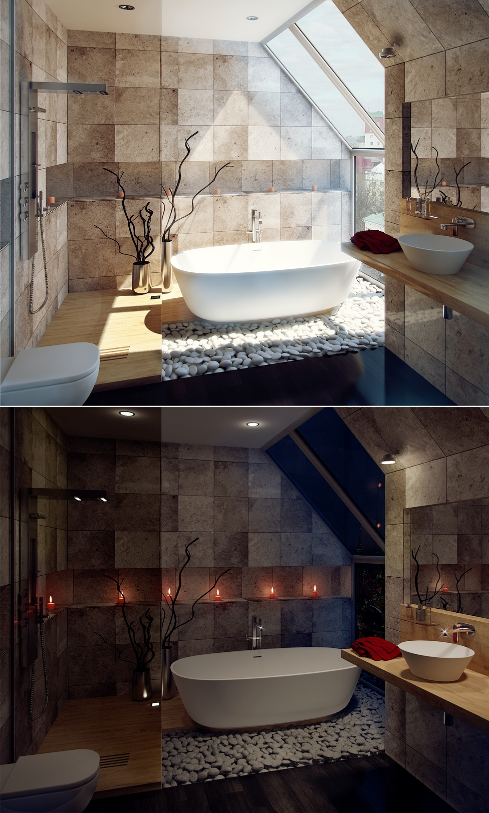 bathroom design with great view