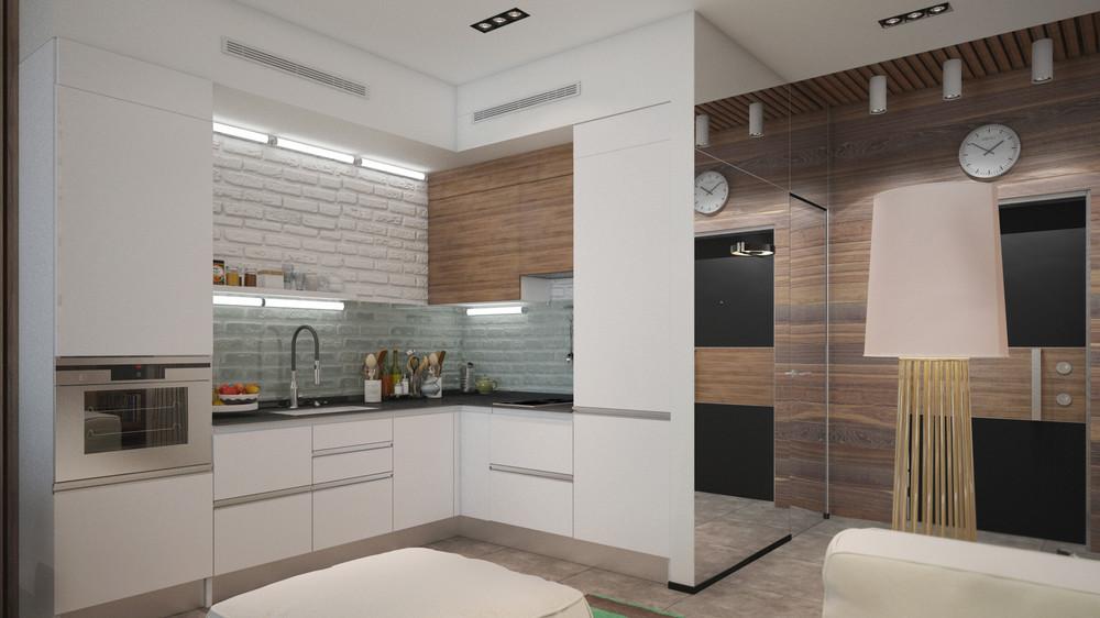 simple white small kitchen