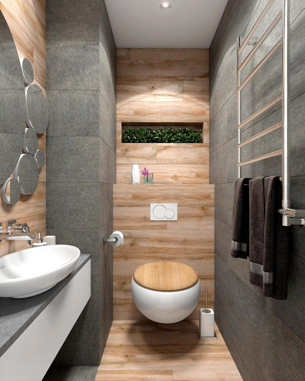 gray minimalist wooden bathroom