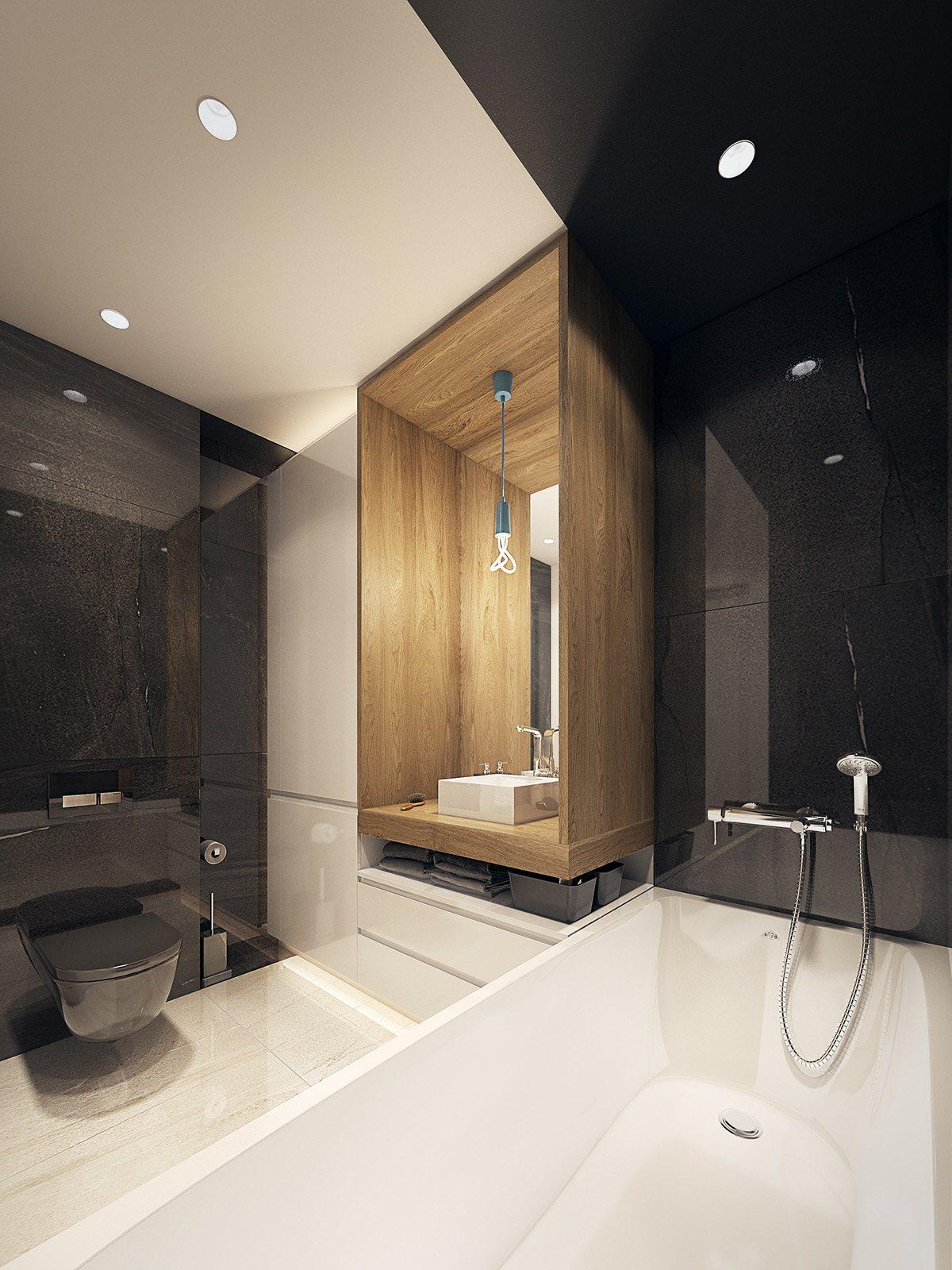minimalist wooden bathroom design idea