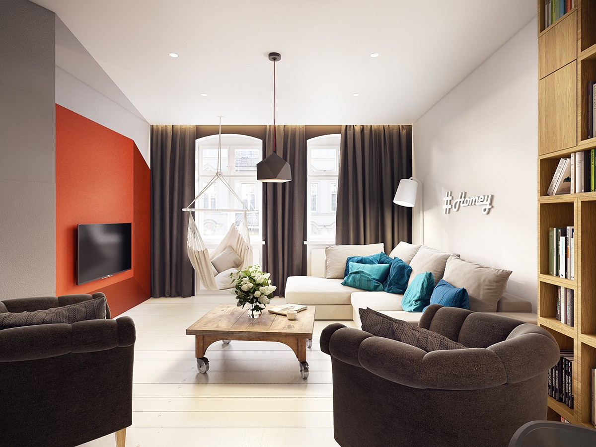 white and orange apartment decor