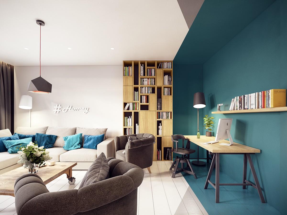 blue apartment decorating