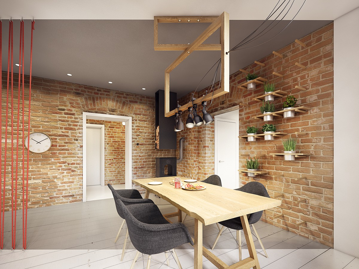dining room exposed brick wall