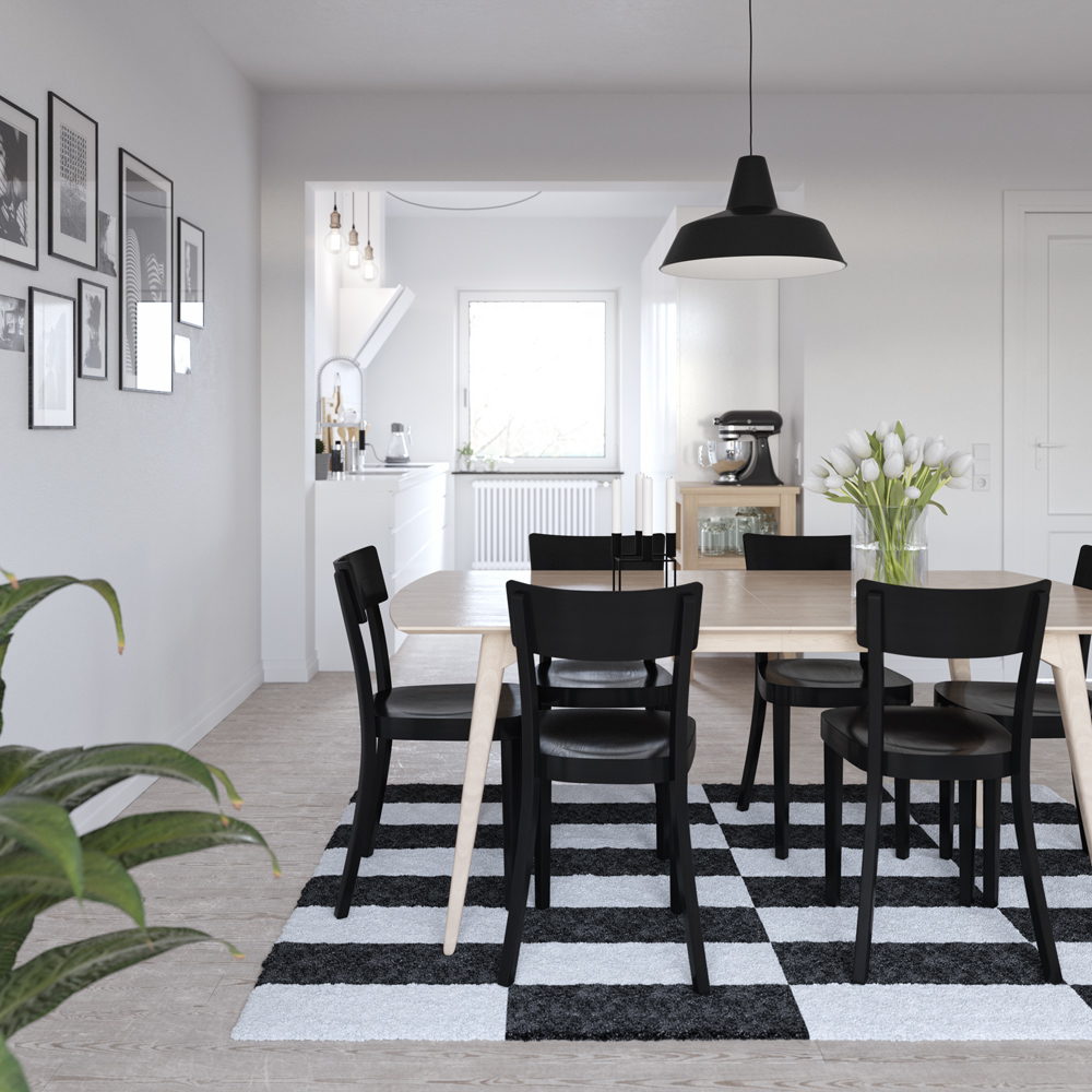 black and white dining room