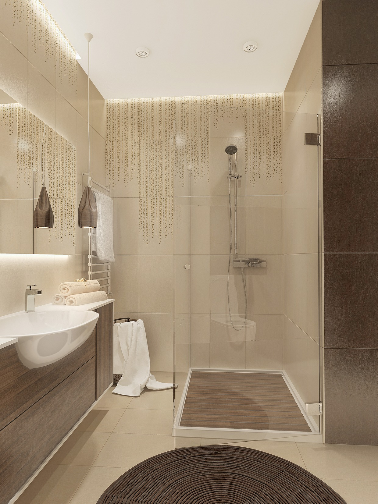 beige small bathroom design