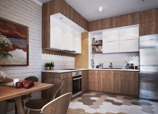 white small kitchen with wooden decor