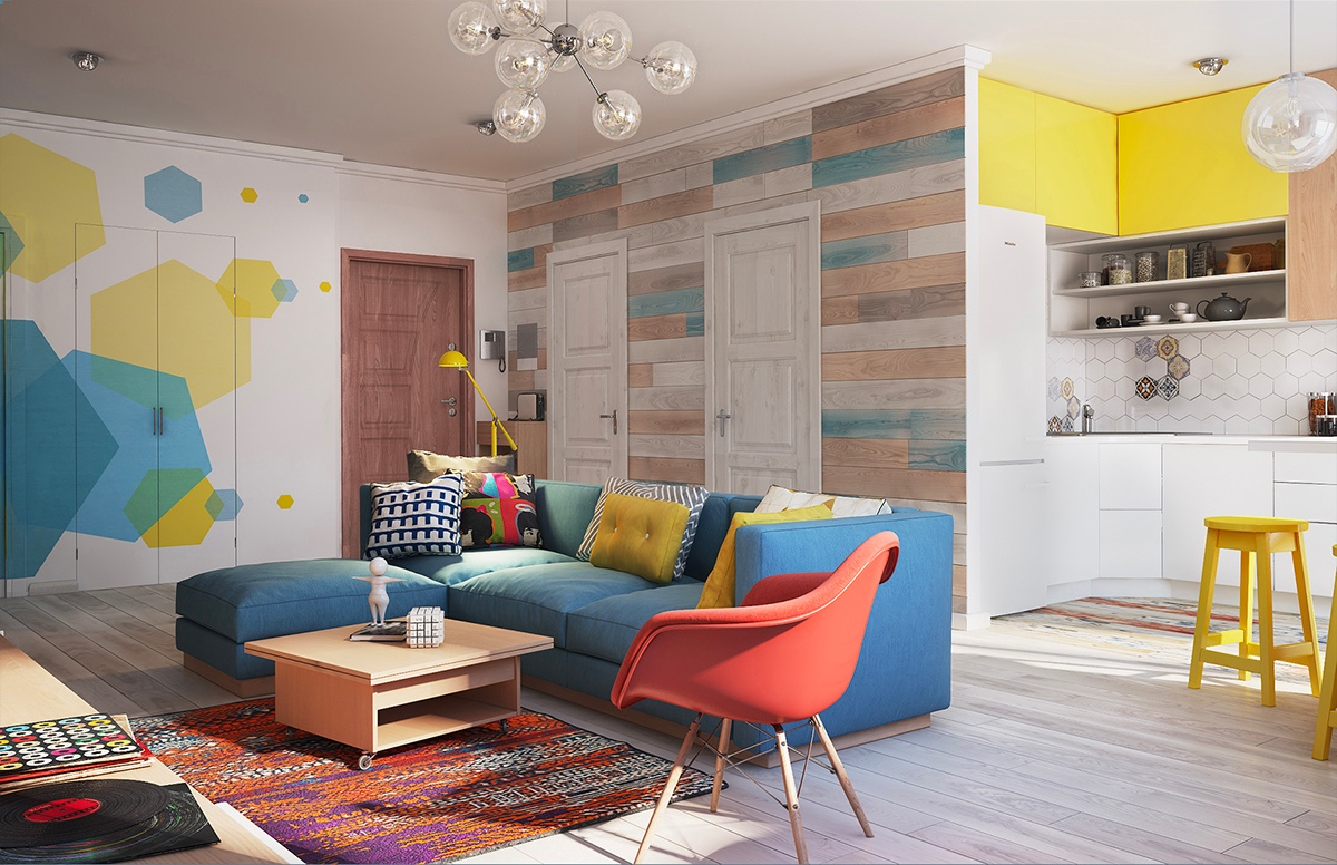 Gorgeous Home Interior Design With Colorful Wall Decor